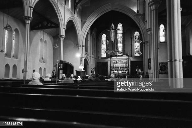 Sparse congregation at a church in West London, circa June 1969. From a series of images to illustrate the many frustrations of living in Britain...