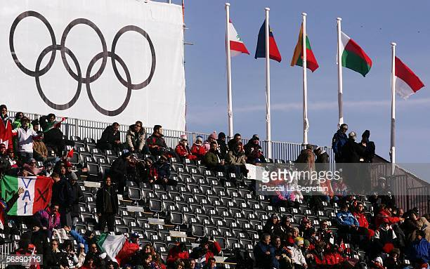 Sparse crowds in the grandstands during the First Run of the Mens Alpine Skiing Giant Slalom competition on Day 10 of the 2006 Turin Winter Olympic...