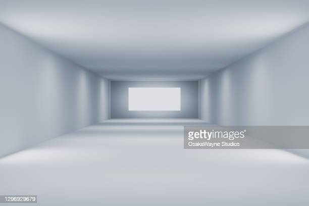 sparse white room with blank screen - art gallery stock pictures, royalty-free photos & images