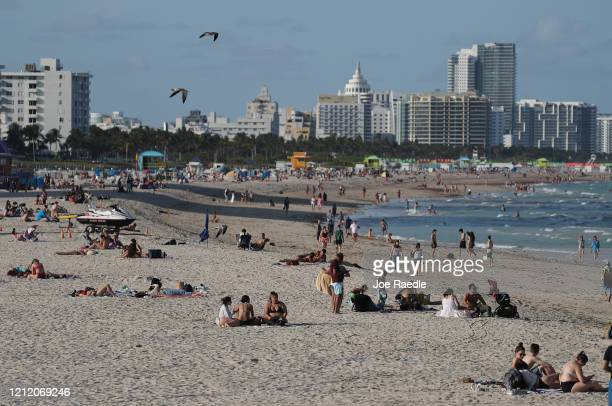 Sparsely attended beach is seen as the city announces a state of emergency to try and prevent the spread of the coronavirus on March 12, 2020 in...