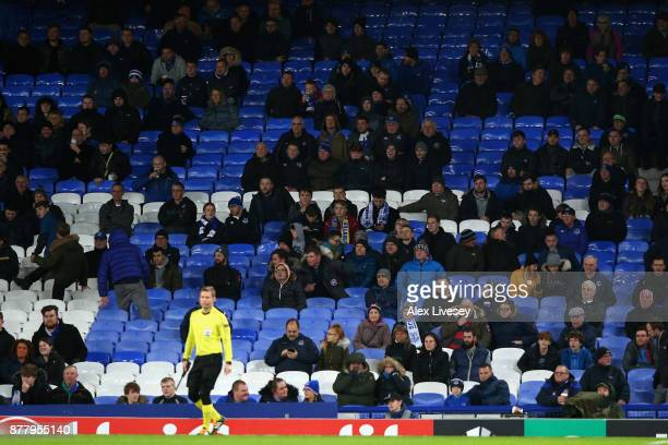 Sparsely populated crowds during the UEFA Europa League group E match between Everton FC and Atalanta at Goodison Park on November 23 2017 in...