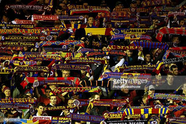 Sparta Prague fans show their support during the UEFA Europa League Round of 32 2nd leg match beteween Liverpool and Sparta Prague at Anfield on...
