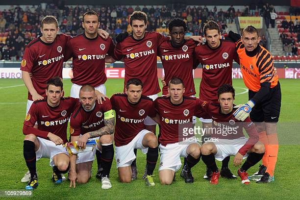 Sparta Prague football team pose before the UEFA Europa League Group F football match between Sparta Prague and FC LausanneSport on October 21 2010...