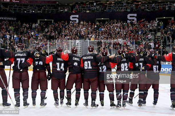Sparta Prague players celebrate a win against Bern after the Champions Hockey League Quarter Final match between Sparta Prague and SC Bern at O2...
