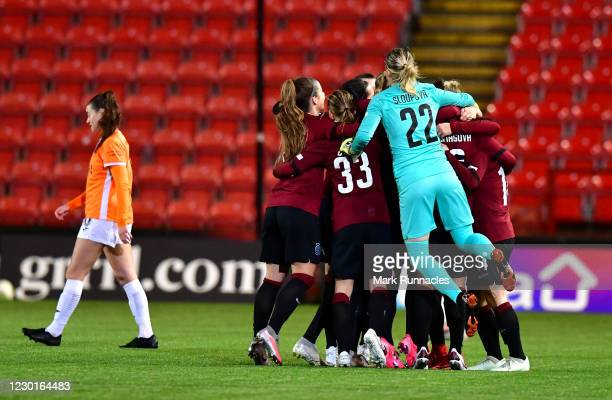 Sparta Prague players celebrate at the final whistle as they beat Glasgow City 0-1 during the UEFA Women's Champions League round of 32 second leg...