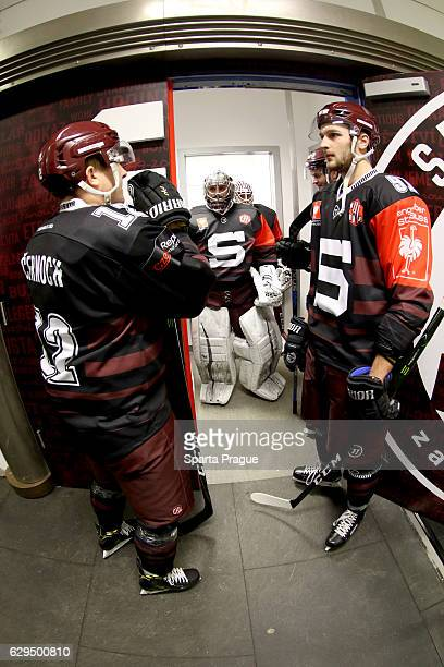 Sparta Prague players getting ready for the Champions Hockey League Quarter Final match between Sparta Prague and SC Bern at O2 Arena Prague on...
