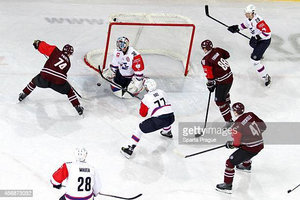 Sparta Prague players in offense during the Champions Hockey League group stage game between Sparta Prague and Adler Mannheim on October 8, 2014 in...