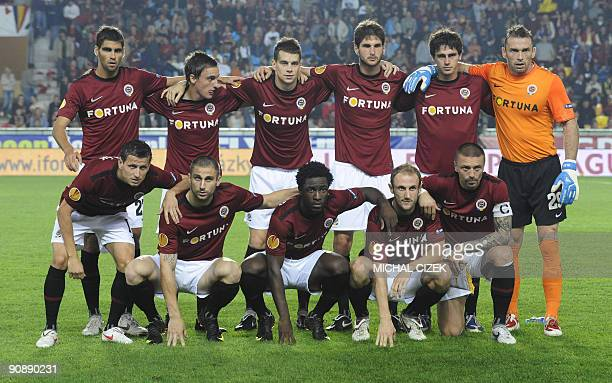 Sparta Prague squad poses for photographers before the UEFA Europa League Group K football match between Sparta Prague and PSV Eindhoven at the...