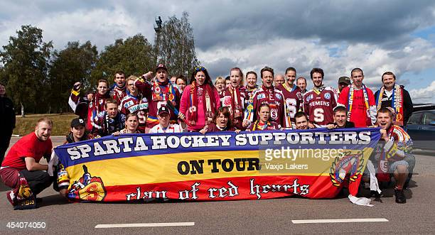 Sparta Prague supporters are seen prior to the Champions Hockey League group stage game between Vaxjo Lakers and Sparta Prague on August 24, 2014 in...