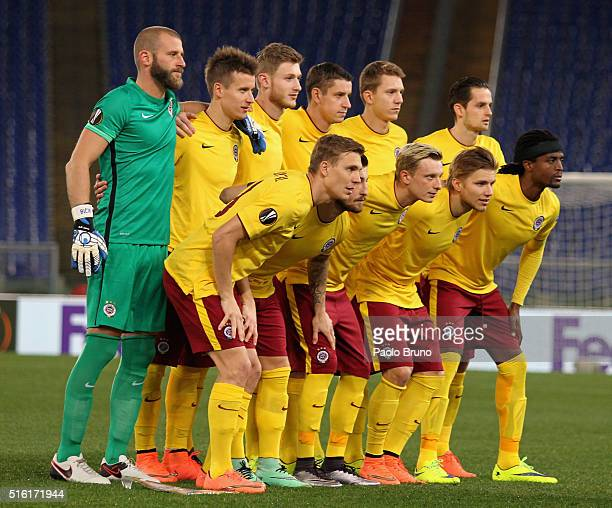Sparta Prague team poses during the UEFA Europa League Round of 16 second leg match between SS Lazio and Sparta Prague at Stadio Olimpico on March 17...