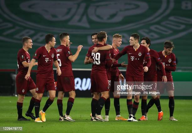 Sparta Prague's Lukas Julis celebrates scoring his side's first goal of the game with teammates during the UEFA Europa League Group H match at Celtic...