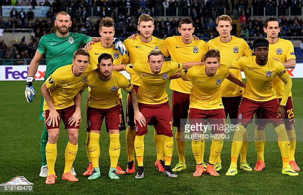 Sparta Prague's team poses prior the round of 16 second leg UEFA Europa League football match Lazio vs Sparta Prague on March 17 2016 at the Olympic...