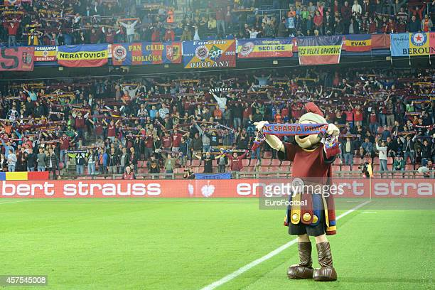 Sparta Praha fans and mascot before the UEFA Europa League Group I match between AC Sparta Praha and BSC Young Boys at the Stadion Letna on October 2...
