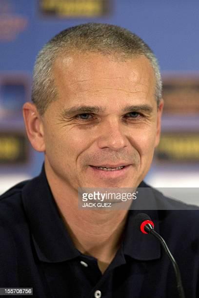 Sparta Praha's coach Vitezslav Lavicka holds a press conference at the Kiryat Eliezer Stadium in the Mediterranean coastal city of Haifa on November...