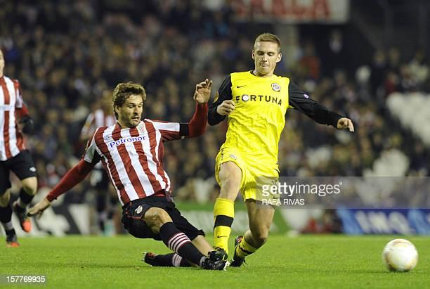 Sparta Praha's midfielder Pavel Kaderabek vies with Athletic Bilbao's forward Fernando Llorente during the UEFA Europa League football match Athletic...