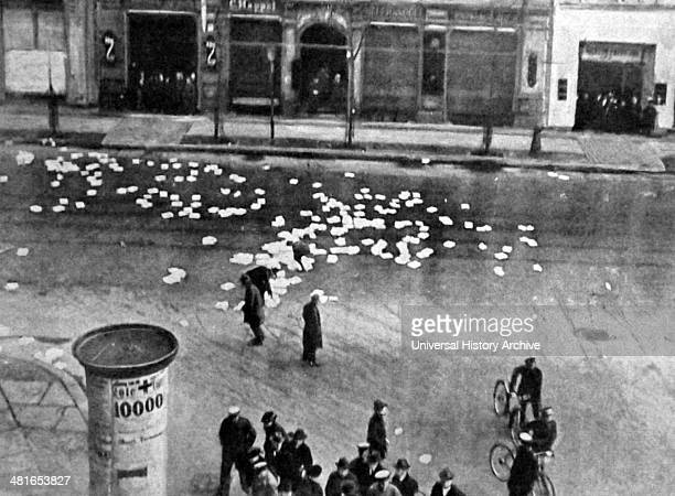 Spartacist propagand papers scattered in a street in Berlin during the Spartacist uprising This uprising was a general strike and the armed battle in...