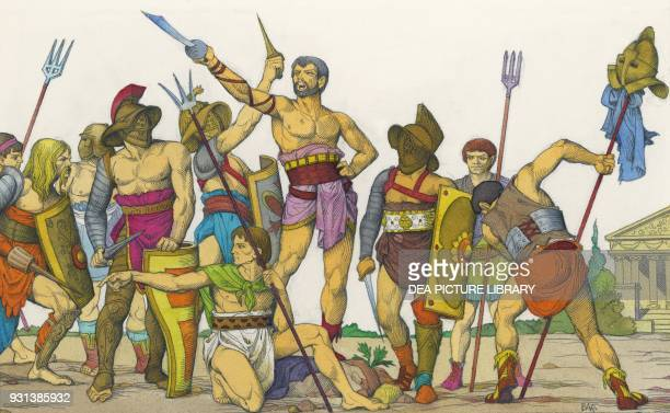 Spartacus haranguing gladiators drawing Roman civilization