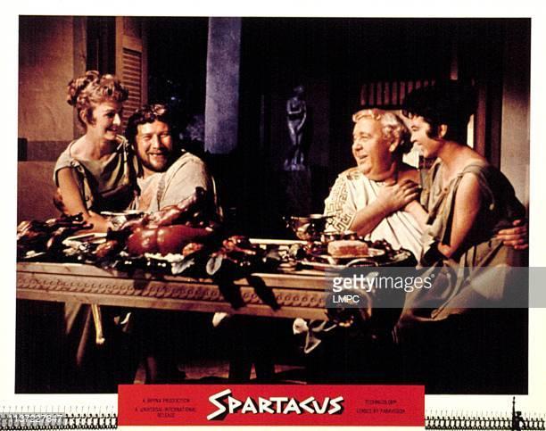 Spartacus lobbycard Jill Jarmyn Peter Ustinov Charles Laughton Jo Summers 1960