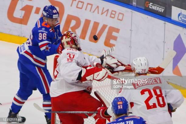 Spartak Hockey Club player, Julius Hudacek in action during the Kontinental Hockey League, regular season, KHL 2020/21 between SKA Saint Petersburg...