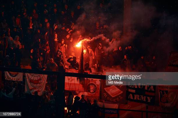 Spartak Moscow fan waves a flare during the UEFA Europa League Group G match between Villarreal CF and FC Spartak Moscow at Estadio de la Ceramica on...