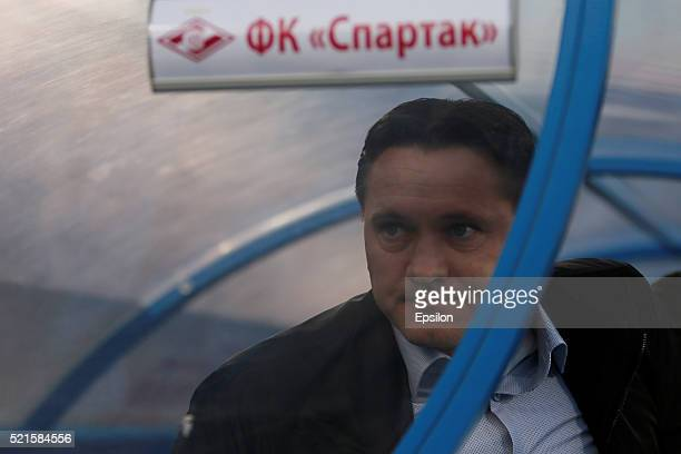 Spartak Moscow head coach Dmitri Alenichev looks on during the Russian Football League match between FC Zenit St Petersburg and FC Spartak Moscow at...