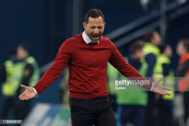 Spartak Moscow head coach Domenico Tedesco reacts during the Russian Premier League match between FC Zenit Saint Petersburg and FC Spartak Moscow on...