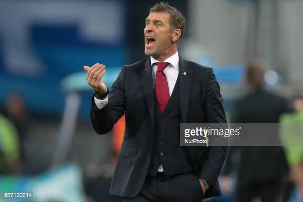 FC Spartak Moscow head coach Massimo Carrera reacts during the Russian Football League match between FC Zenit St Petersburg and FC Spartak Moscow at...