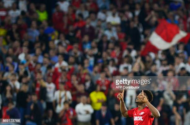 Spartak Moscow's Cape Verdean forward Ze Luis celebrates after scoring a goal during the UEFA Champions League group E football match between Sevilla...