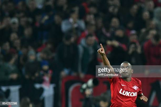Spartak Moscow's midfielder from Brazil Fernando celebrates after scoring a goal during the UEFA Champions League Group E football match between FC...