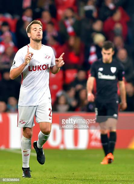 FC Spartak Moscow's Russian defender Dmitri Kombarov celebrates after scoring his team's first goal during the Europa League Round of 32 second leg...