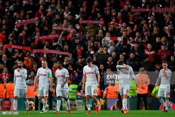 Spartak Moscow's Russian midfielder Aleksandr Samedov Spartak Moscow's Russian midfielder Denis Glushakov Spartak Moscow's Brazilian midfielder...