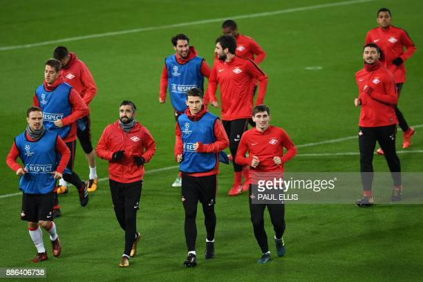 Spartak players Spartak Moscow's Russian defender Andrey Yeshchenko Spartak Moscow's Russian midfielder Aleksandr Samedov Spartak Moscow's Russian...