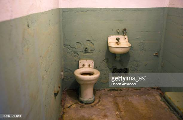 SAN FRANCISCO CALIFORNIA SEPTEMBER 12 2018 A spartan cell at the former Alcatraz Federal Penitentiary on Alcatraz Island in San Francisco Bay Now a...