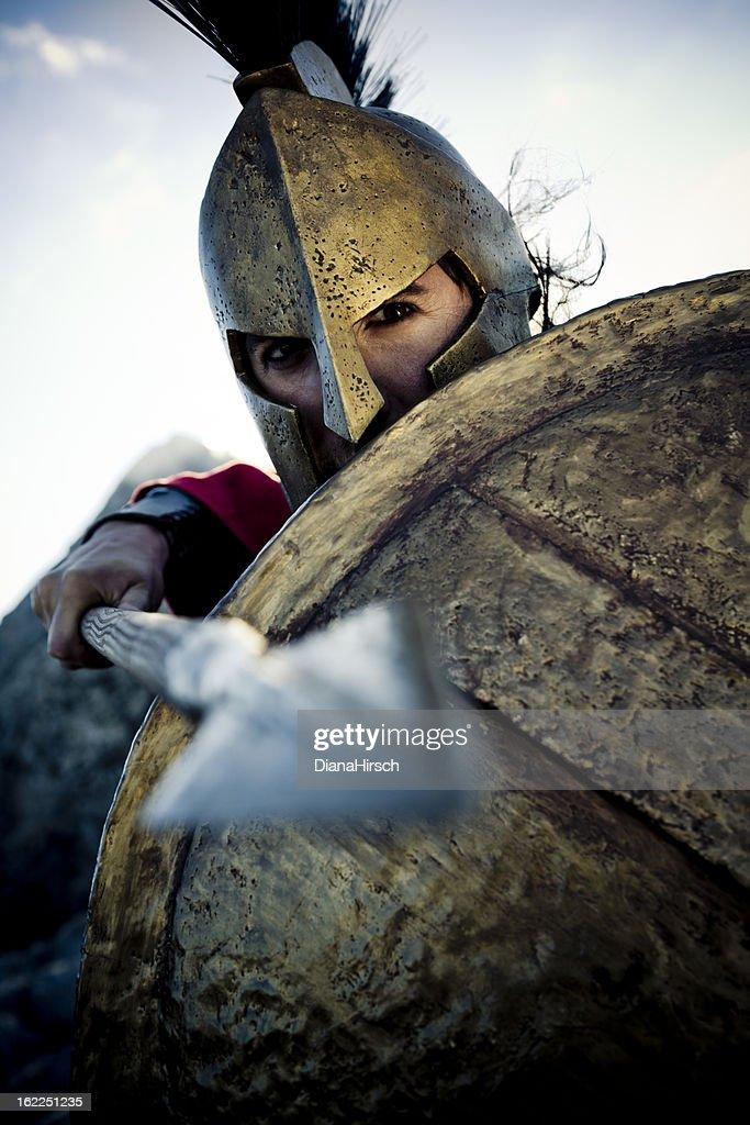 spartan in defense position : Stock Photo