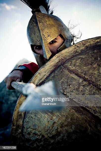spartan in defense position - roman stock pictures, royalty-free photos & images