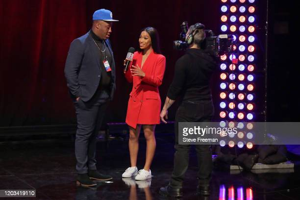 Spartan talks with Autumn Johnson during the NBA 2K League Draft on February 22 2020 at Terminal 5 in New York New York NOTE TO USER User expressly...