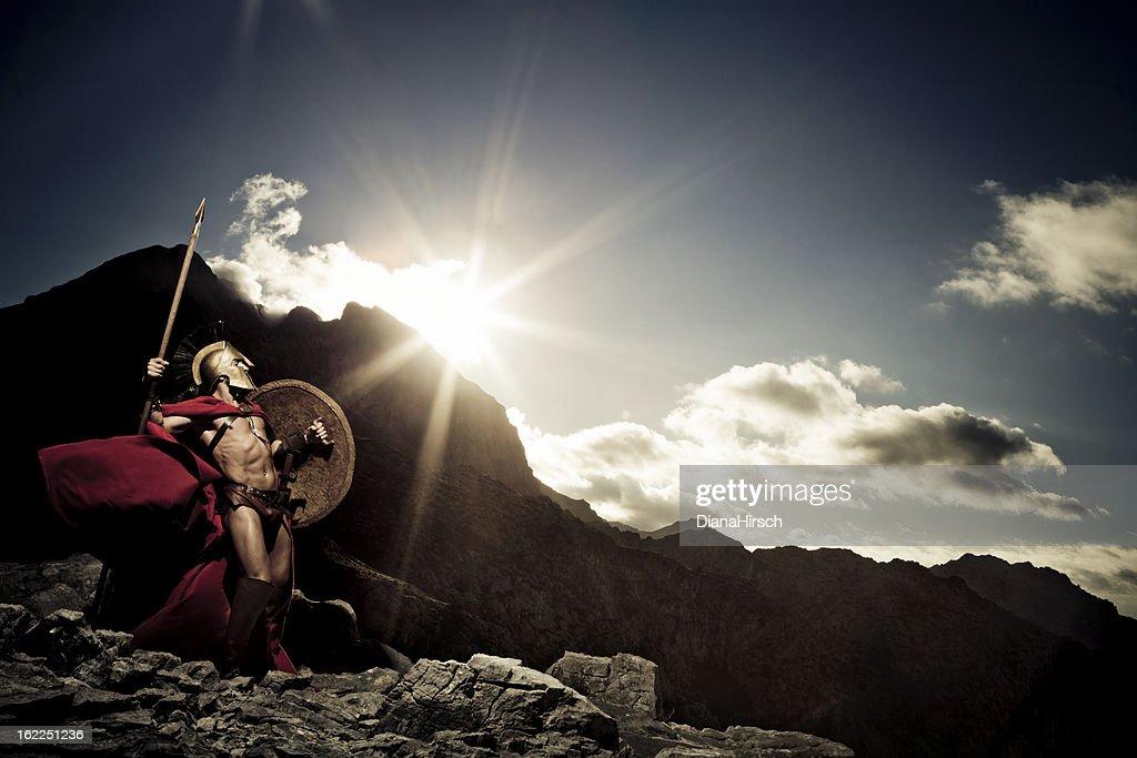 Spartan warrior ready to fight : Stock Photo