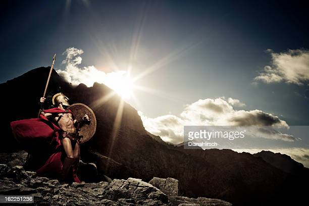 spartan warrior ready to fight - spear stock photos and pictures
