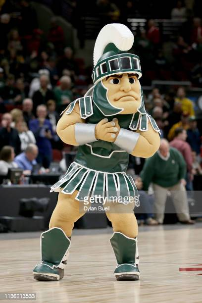 Sparty performs during the semifinals of the Big Ten Basketball Tournament at the United Center on March 16 2019 in Chicago Illinois