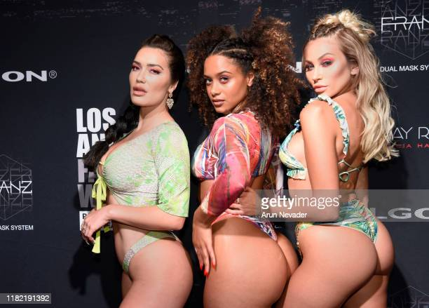 Sparxx, Maryam and Khloe Terae backstage during Los Angeles Fashion Week SS/20 Powered by Art Hearts Fashion - Day 3 on October 19, 2019 in Los...