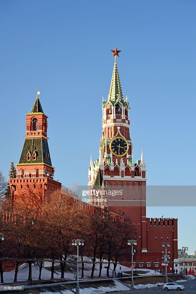 Spasskaya and Nabatnaya tower of Moscow Kremlin, Russia : Stock Photo