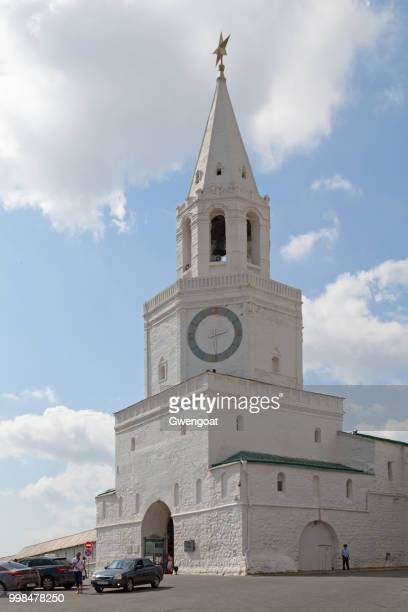 spasskaya tower in kremlin van kazan - gwengoat stockfoto's en -beelden