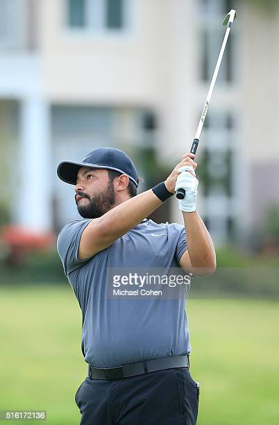 J Spaun hits his second shot on the 18th hole during the first round of the Chitimacha Louisiana Open presented by NACHER held at Le Triomphe Golf...