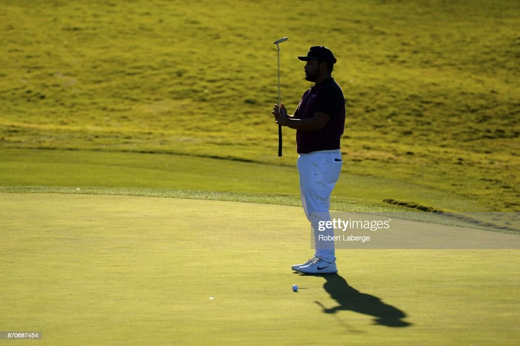 J.J. Spaun misses a bogey putt on the 13th green during the final round of the Shriners Hospitals For Children Open at the TPC Summerlin on November 5, 2017 in Las Vegas, Nevada.