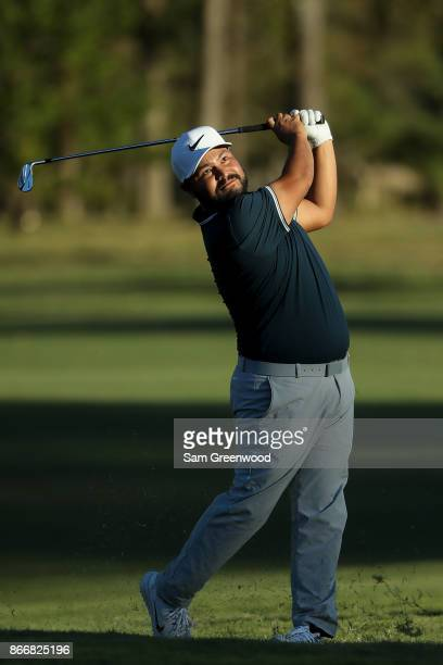 J Spaun plays his second shot on the 18th hole during the First Round of the Sanderson Farms Championship at the Country Club of Jackson on October...