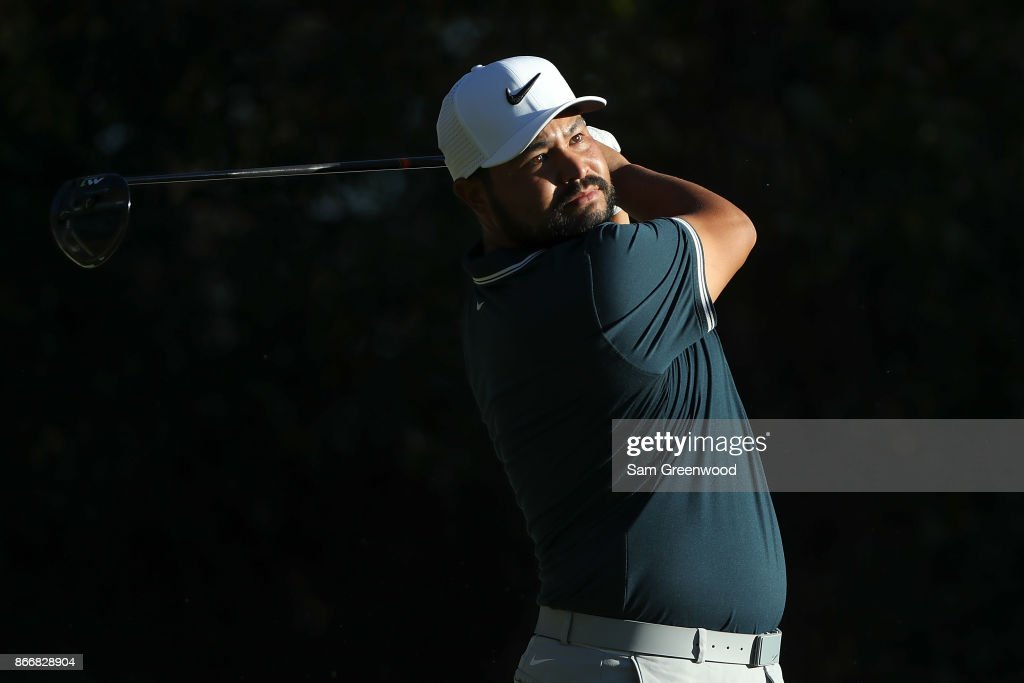 J.J. Spaun plays his shot from the 17th tee during the First Round of the Sanderson Farms Championship at the Country Club of Jackson on October 26, 2017 in Jackson, Mississippi.