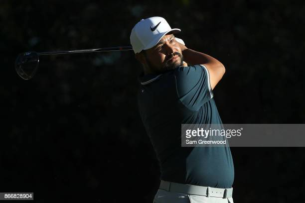 J Spaun plays his shot from the 17th tee during the First Round of the Sanderson Farms Championship at the Country Club of Jackson on October 26 2017...