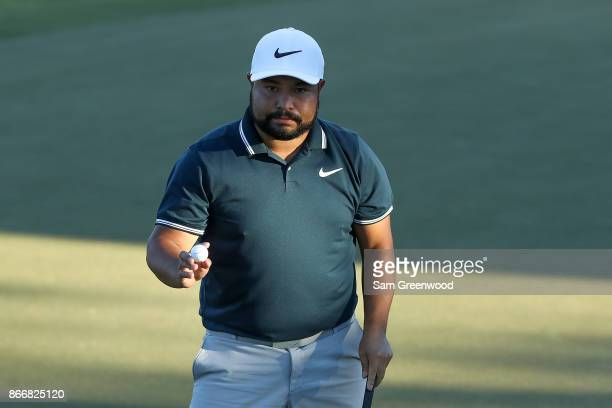 J Spaun reacts after a putt on the 18th hole during the First Round of the Sanderson Farms Championship at the Country Club of Jackson on October 26...
