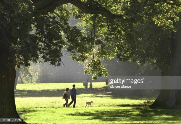 Spaziergänger genießen am 8.10.2000 mit ihrem Hund das sonnige Herbstwetter im Hamburger Jenisch-Park. Bei Temperaturen um 14 Grad Celsius nutzten in...