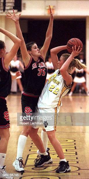 SPBasketballDefenseRDL 2/10/98 Basketball San Clemente High School at Capristrano Valley High School Colleen Turnbull plays tough defense on Leah...